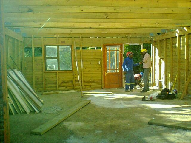 Inside a large wendy house under contruction
